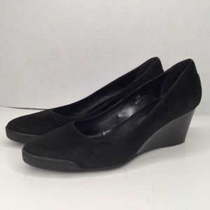 Tod's black suede classic wedge shoes. Gorgeous.
